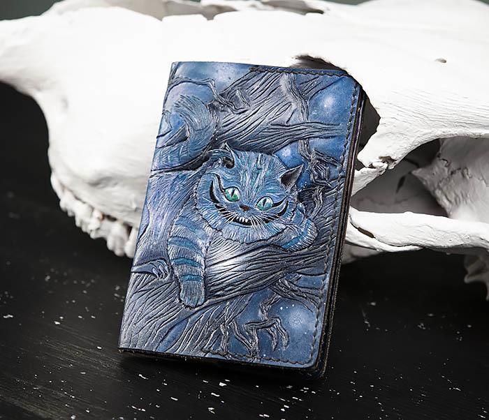 BC209 Кожаная обложка «Чеширский Кот» ручной работы фото 02
