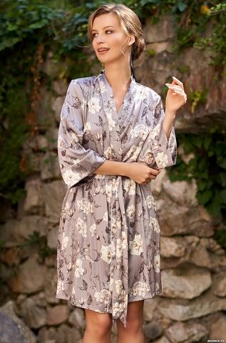 Короткий халатик Mia Amore с принтом Gracia (70% натуральный шел