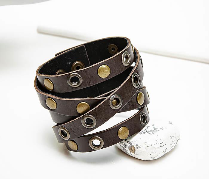 BL790-2 Мужской кожаный браслет напульсник с клепками