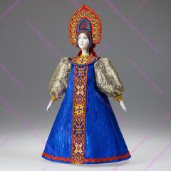 Сувенирная кукла в крестьянском наряде с прямым кокошником