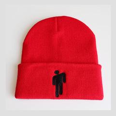 Вязаная шапка с отворотом и вышивкой Билли Айлиш (Billie Eilish) красная