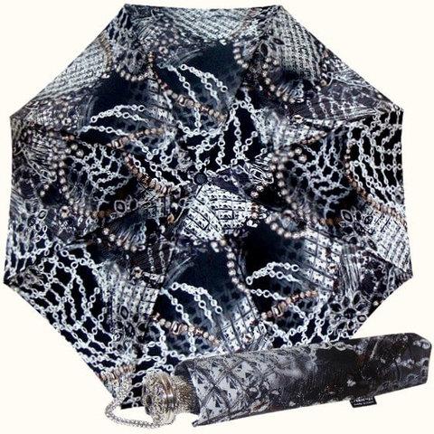 Черный женский зонт с украшениями