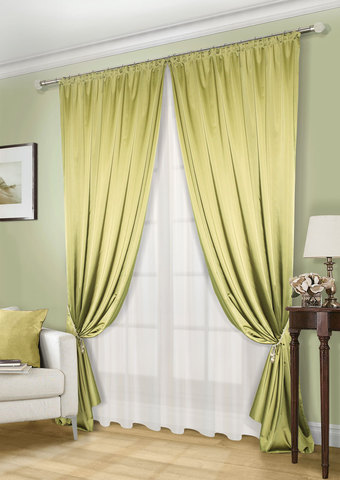 Комплект штор и тюля   Линда  оливка