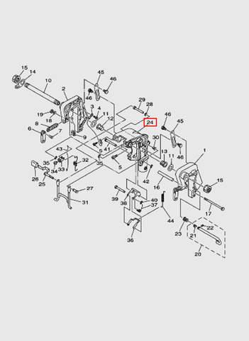 Крогштейн поворотный  для лодочного мотора T15, OTH 9,9 SEA-PRO (13-24)