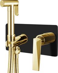 Гигеническая лейка со смесителем VENTURO черный + золото Boheme 387-B фото