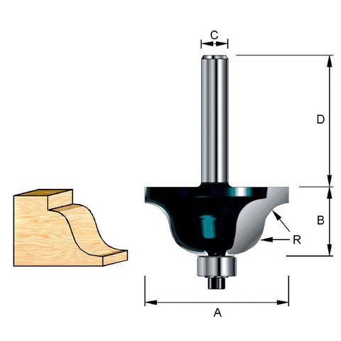Фреза кромочная фасонная(S-образная) 27х32х11,9х8 мм; R=3,97 мм