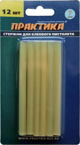 Клей для клеевого пистолета ПРАКТИКА желтый, прозрачный,  7 х 100 мм, 12шт / блистер (641-626)