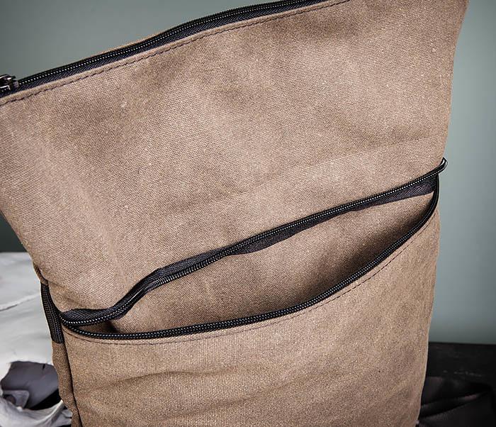 BAG460-2 Мужской городской рюкзак из текстиля коричневого цвета фото 12