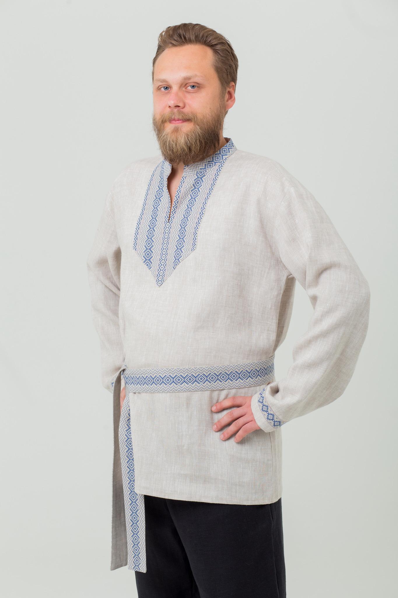 Мужская народная рубаха с поясом Льняной дождь