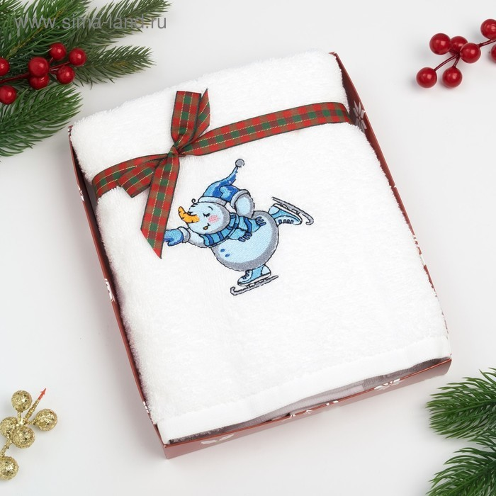 Полотенце «Экономь и Я» Снеговик 50*90 см, цвет белый, 100% хлопок, 340 г/м²