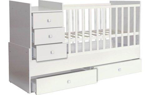 Кроватка детская Polini kids Simple 1000 с комодом, белый