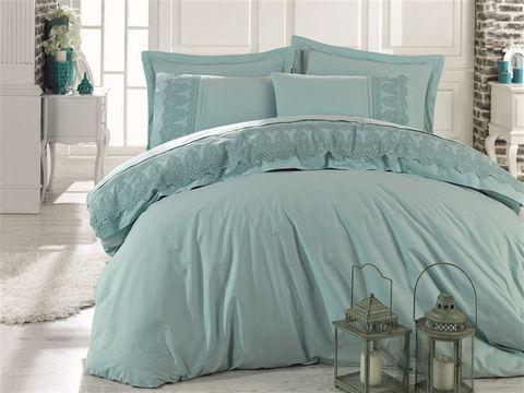 Комплект постельного белья DANTELA VITA ранфорс с гипюром GIZEM (Евро) цвет мятный