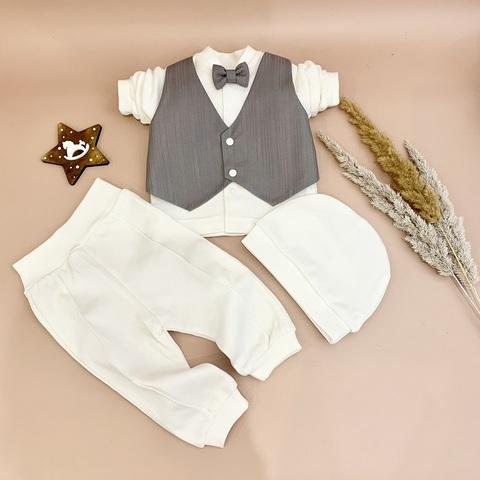Нарядный костюм для мальчика 56, 62, 68, 74 см Жилет серый однотон