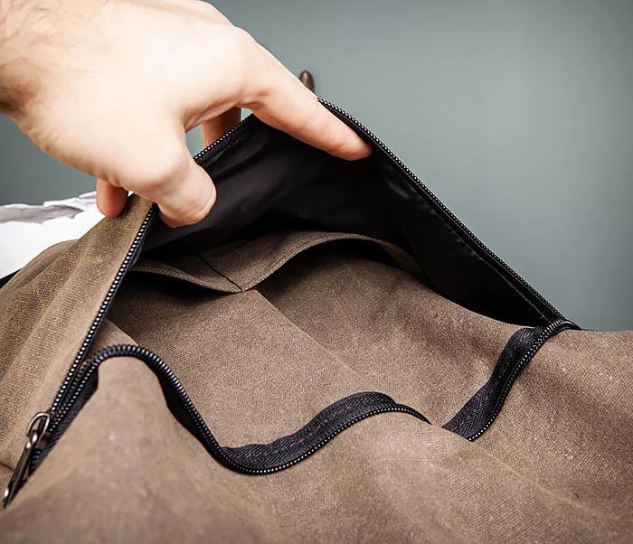 BAG460-2 Мужской городской рюкзак из текстиля коричневого цвета фото 13