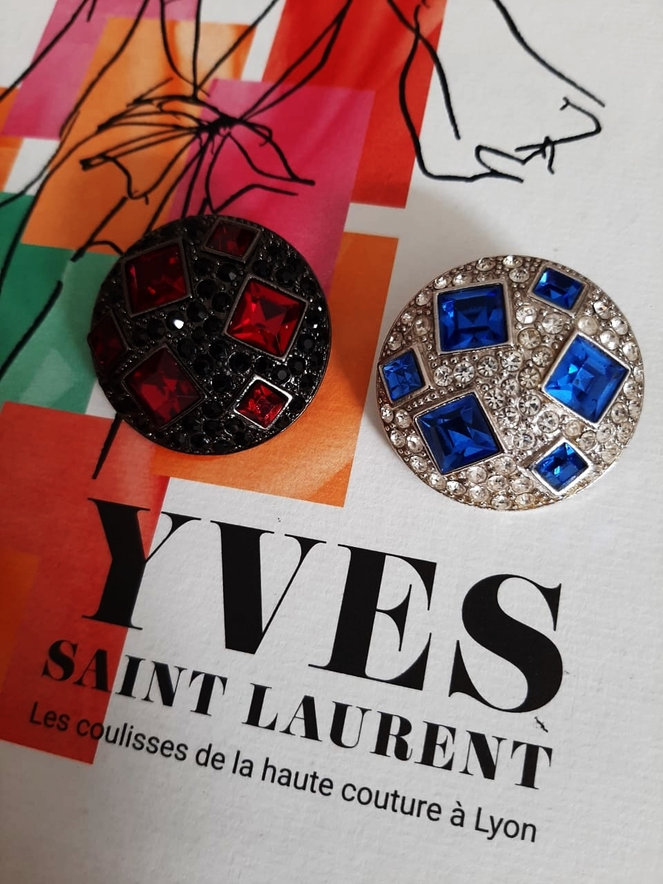 1980s Yves Saint Laurent Mismatch Round Crystal Clip-on Earrings