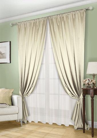 Комплект штор и тюля Линда светло-оливковый