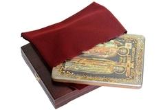 Инкрустированная икона Святые равноапостольные Константин и Елена 29х21см на натуральном дереве в подарочной коробке