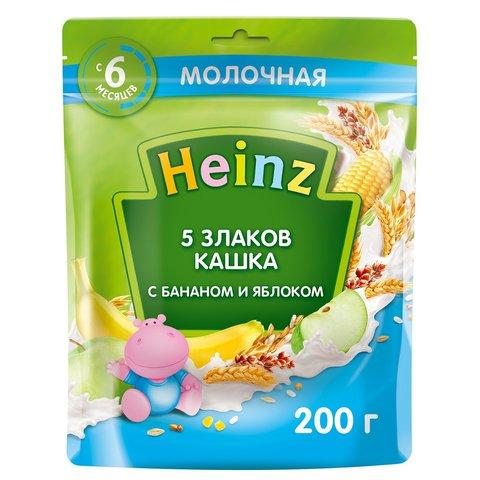 Каша Heinz молочная 5 злаков с бананом и яблоком  с Омега 3, 6+ мес