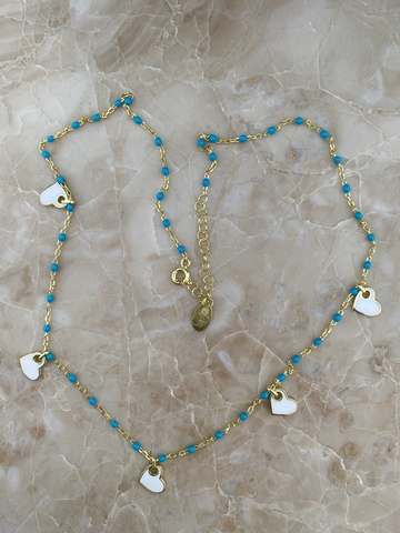 Колье Лавуа с голубой и белой эмалью
