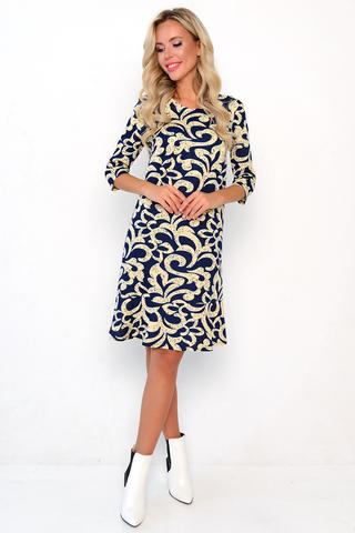 <p>Просто и со вкусом! Платье оригинального дизайна, простой крой, рукав 3/4, по низу изделия волан.</p>