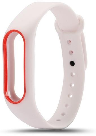 Силиконовый ремешок для Xiaomi Mi Band 2 (белый с красным)