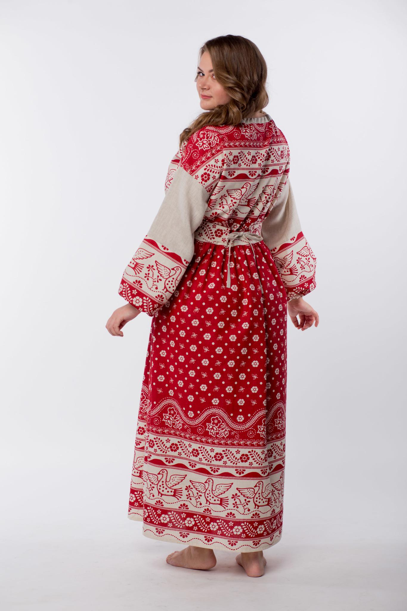 Платье льняное Певчее размер 50-52 вид сзади