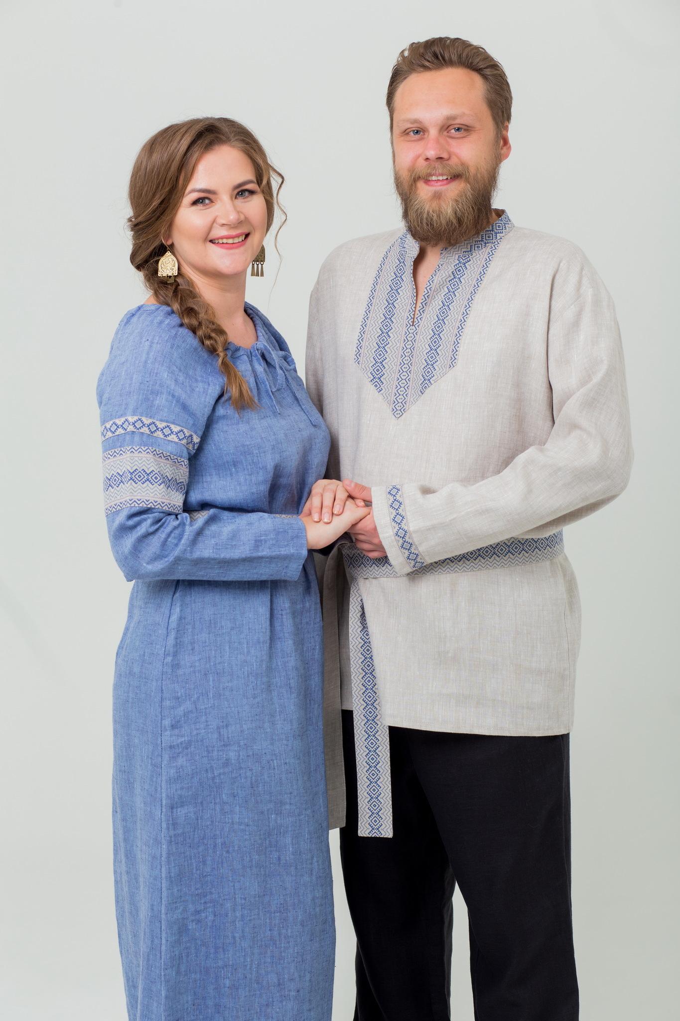 Славянская рубаха Льняной дождь в русском стиле