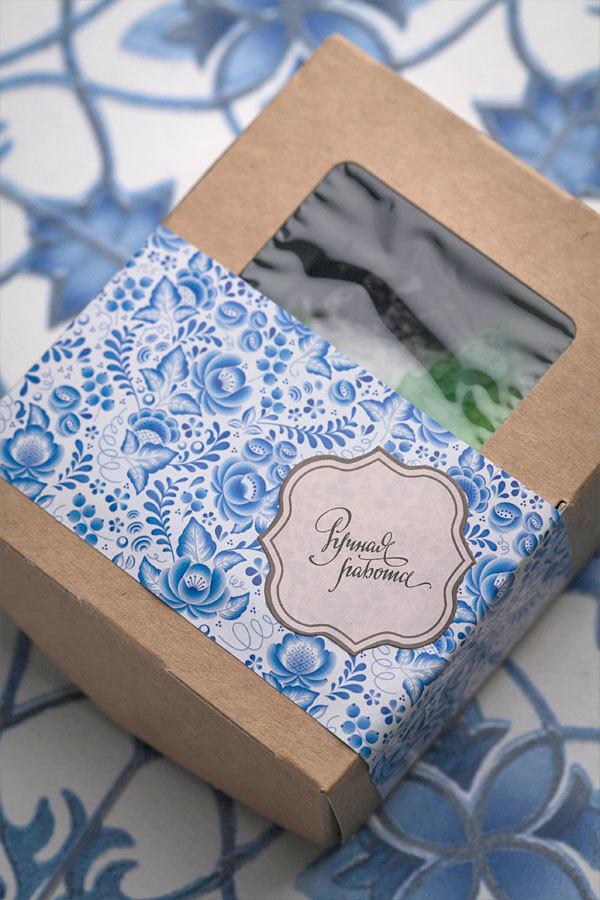 Этиклейка на упаковку для мыла Гжель