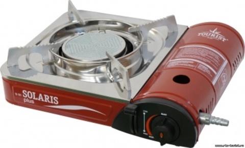Газовая плита керамическая TOURIST SOLARIS PLUS (с кейсом и переходником)