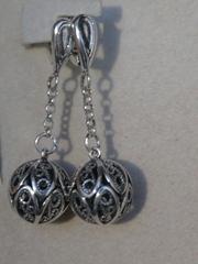 Шарики филигрань 1,3 см с цепочкой (серьги из серебра)