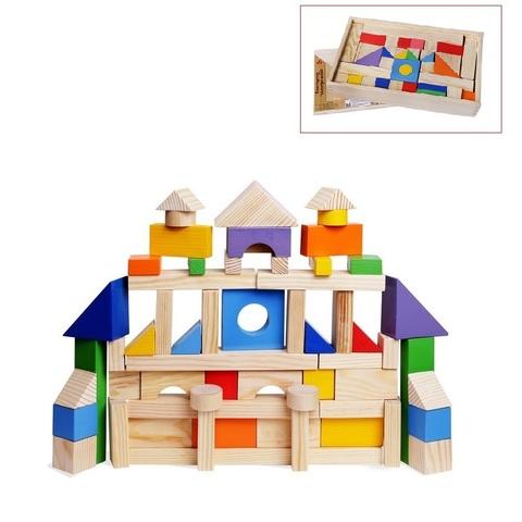 Деревянный конструктор, 85 деталей, окрашенный, в деревянном ящике (окрашено 20 деталей)