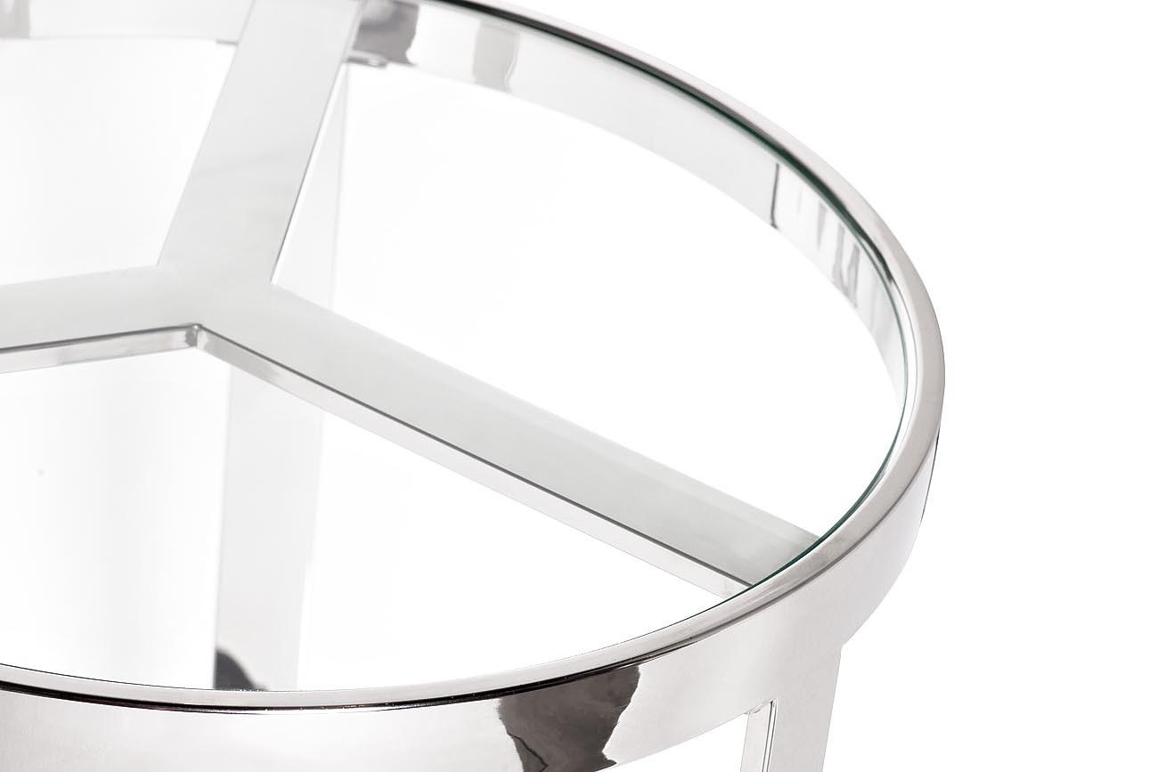 47ED-ET031 Стол журнальный прозр.стекло/хром d.50*55см