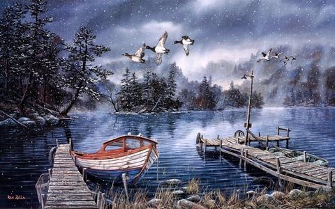 Алмазная Мозаика 40x50 Лодка у берега (арт. TC8349 )