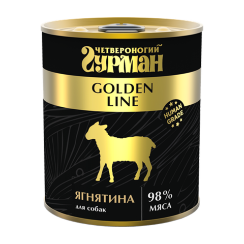 Четвероногий Гурман Golden Консервы для собак с натуральным ягненком в желе (Банка)