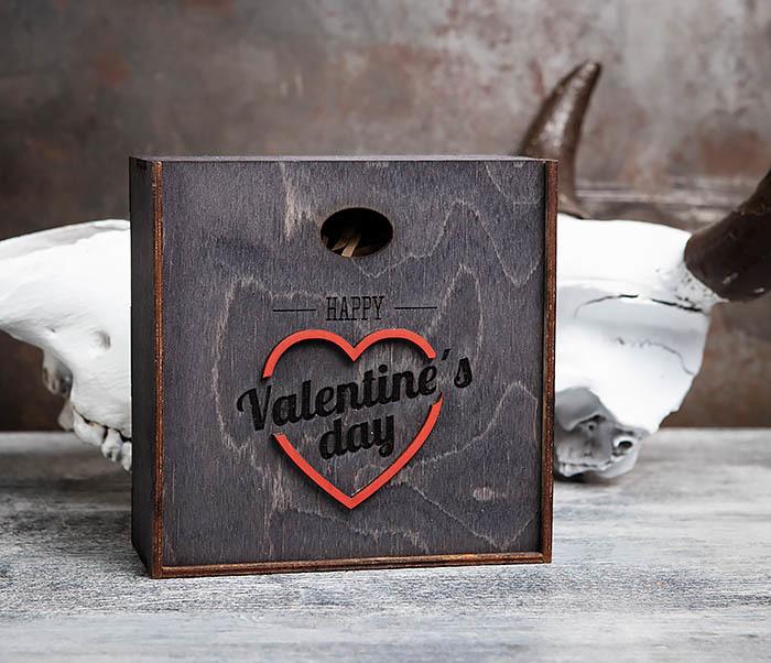 BOX206-1 Деревянная подарочная коробка «День святого Валентина» (17*17*7 см) фото 02