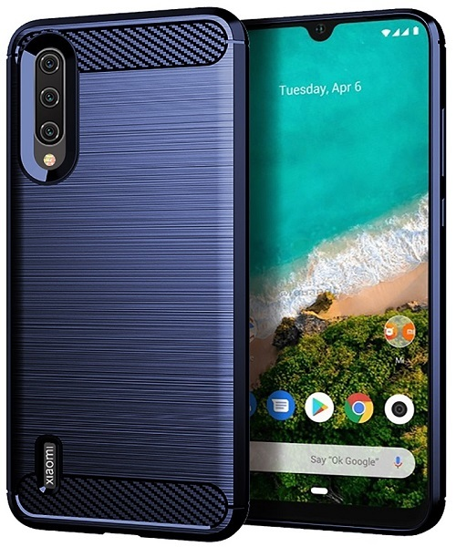 Чехол Xiaomi Mi 9 Lite (A3 Lite, CC9) цвет Blue (синий), серия Carbon, Caseport