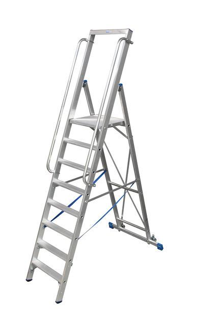 STABILO Лестница - стремянка, оборудованная большой площадкой и поручнем.  Стремянка на роликах.