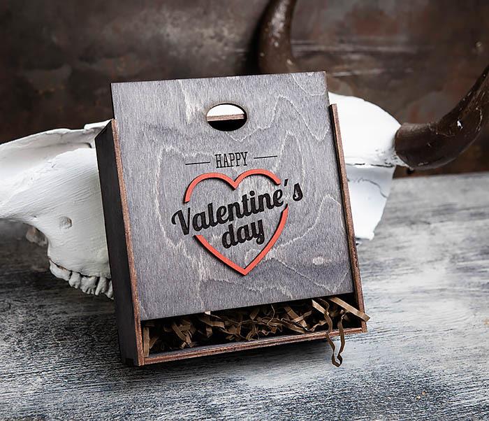 BOX206-1 Деревянная подарочная коробка «День святого Валентина» (17*17*7 см) фото 03