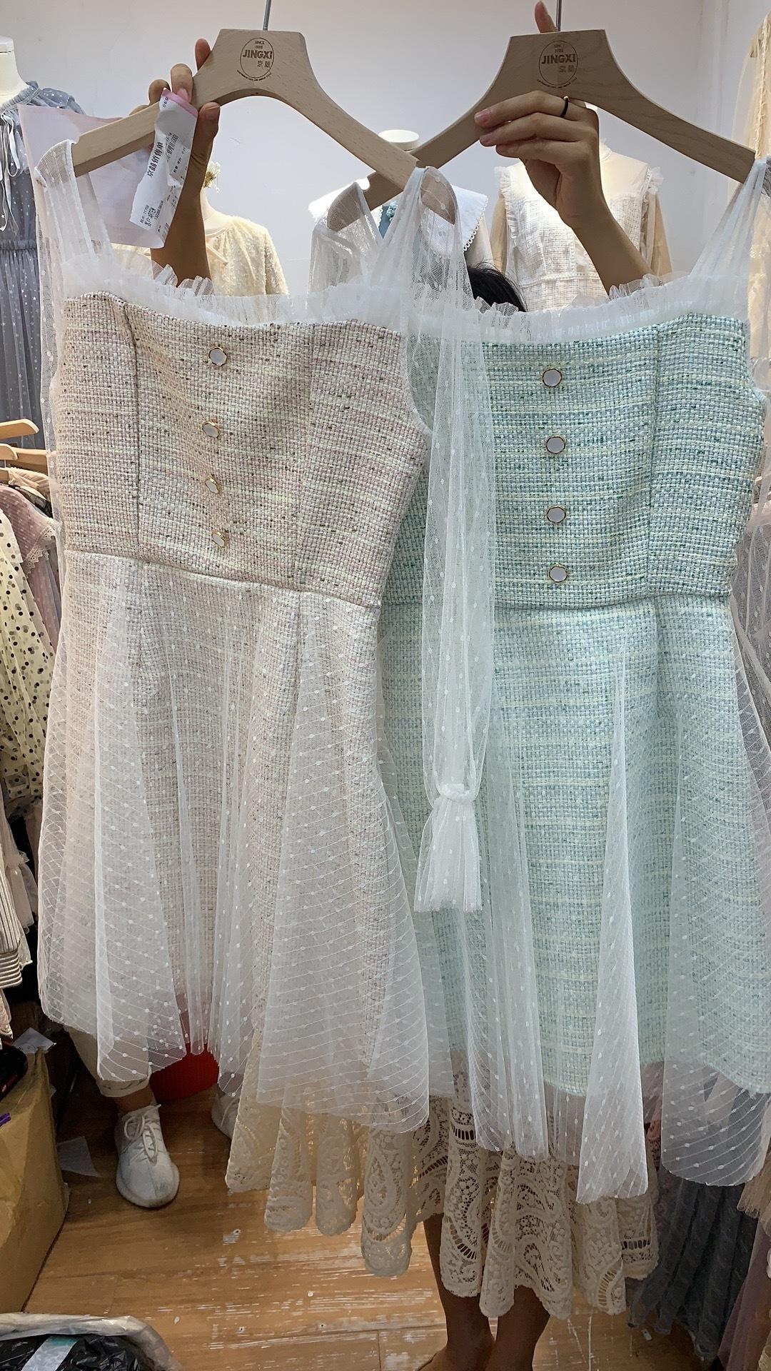 Твидовое платье с гепюром, розовый