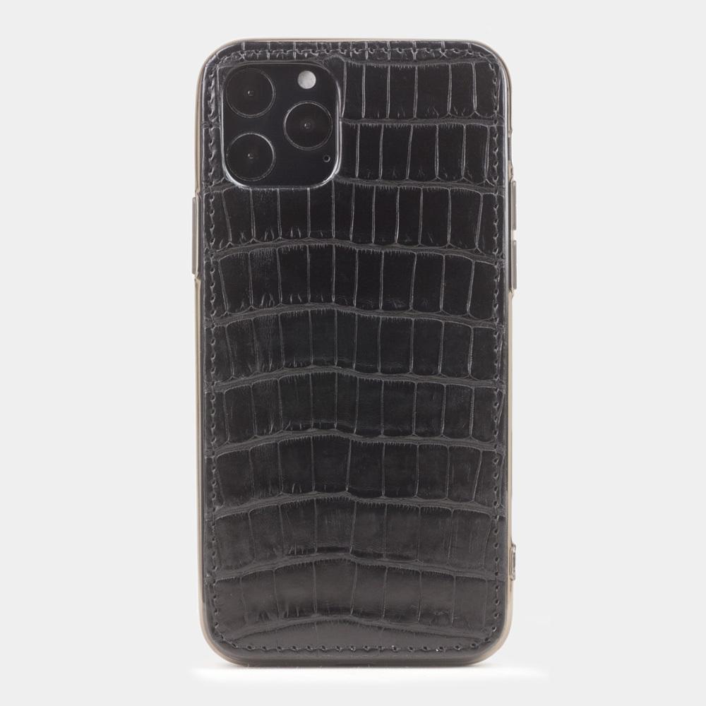Чехол-накладка для iPhone 11 Pro из натуральной кожи крокодила, черного цвета