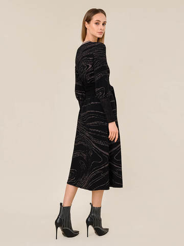Женское платье черного цвета из шерсти и вискозы - фото 4