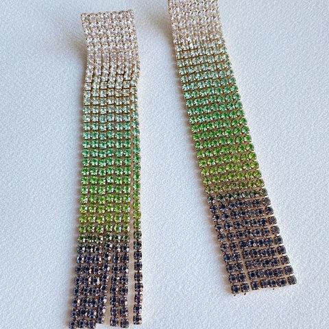 Серьги каскадные с кристалалми (зеленый, сиреневый)