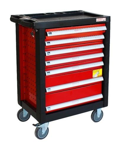 Тележка инструментальная, 7 ящиков, набор инструмента 196 пр-тов, красная