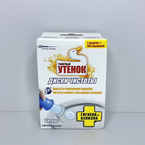 Диски чистоты для унитаза (сменный блок) Туалетный Утенок (6 шт.)