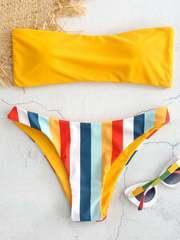 купальник бандо разlдельный желтый радуга Yellow-Rainbow 1