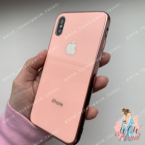 Чехол iPhone X/XS Glass Case Logo /pink/