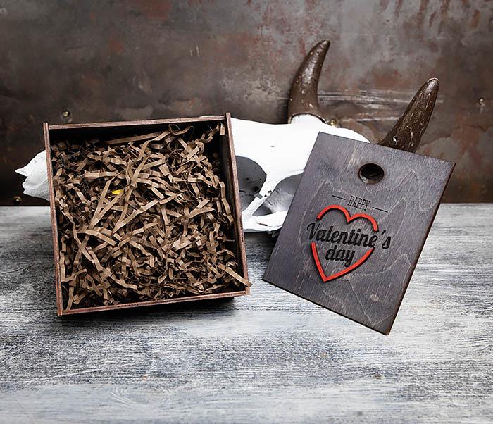 BOX206-1 Деревянная подарочная коробка «День святого Валентина» (17*17*7 см) фото 04