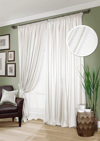 Комплект штор Рианна сатин светло-бежевый с подхватами и тюлем