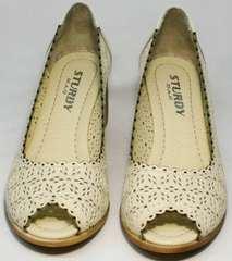 Бежевые туфли с открытым носком летние женские Sturdy Shoes 87-43 24 Lighte Beige.