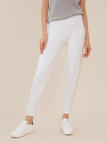 Женские брюки молочного цвета из шерсти - фото 4